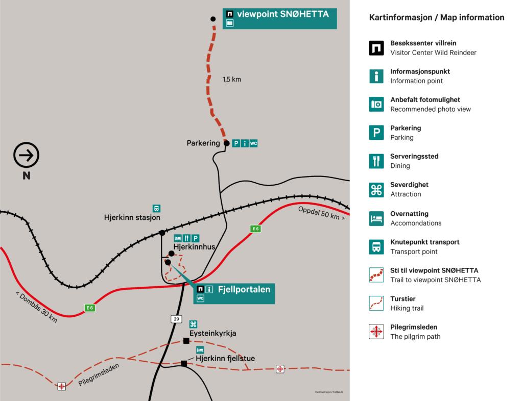 Kart Fjellportalen og viewpoint SNØHETTA